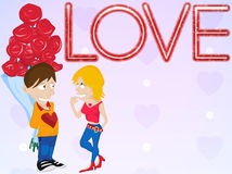 Young Couple in Love. Happy Valentine's Day Card. Royalty Free Stock Image