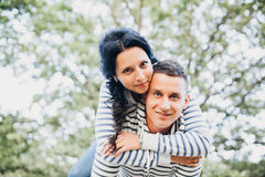 Young couple in love having fun nature, outdoors Royalty Free Stock Image