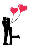 Young couple in love with hearts Royalty Free Stock Photography