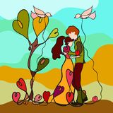 Young couple in love, with hearts and flying birds, creative colorful pattern vector illustration