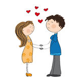 Young couple in love holding hands. Original hand drawn illustration of young couple in love holding hands Stock Photography