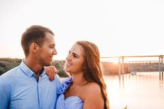 Young couple in love hug each other royalty free stock photography