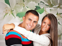 Young couple in love hugging royalty free stock photography