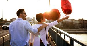Young couple hugging dating and kissing outdoor Royalty Free Stock Photography