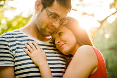 Young couple in love hugging Royalty Free Stock Photos