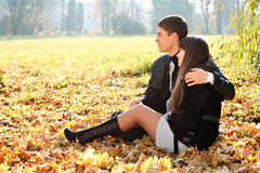 Young couple in love hugging in outdoors Stock Image