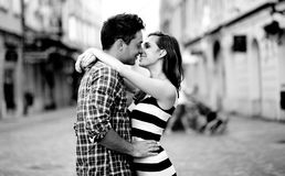 Young couple in love, hugging on the street Royalty Free Stock Photo