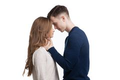 Young couple in love isolated on white background Stock Image
