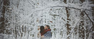 Young couple in love kissing in cold forest royalty free stock photo