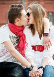 Young couple in love kissing each other Royalty Free Stock Image