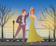 Young couple. Man and woman dancing ballroom dance in the street of the old town. Vector illustration. Royalty Free Stock Images