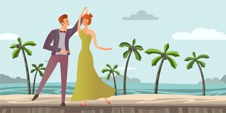 Young couple. Man and woman dancing ballroom dance on a tropical beach with palm trees. Vector illustration. Royalty Free Stock Images