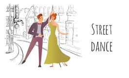 Young couple in love. Man and woman dancing in the street of the old town. Vector illustration. Royalty Free Stock Images
