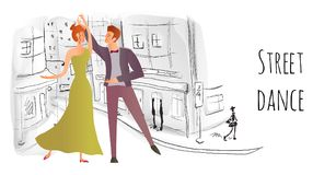 Young couple in love. Man and woman dancing in the street of the old town. Vector illustration. Stock Photography