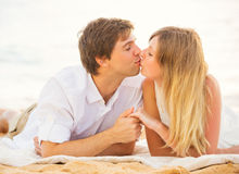 Young couple in love, Man and woman enjoying romantic afternoon Royalty Free Stock Photos