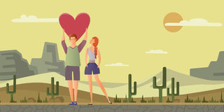 Young couple in love. Man and woman on a romantic date in desert landscape. Vector illustration. Young couple in love. Man and woman on a romantic date in stock illustration