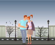 Young couple in love. Man and woman on a romantic date in the street of the old town. Vector illustration. Stock Photos