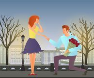 Young couple in love. Man and woman on a romantic date in the street of the old town. Vector illustration. Royalty Free Stock Image