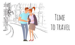 Young couple in love. Man and woman on a romantic date in the street of the old town. Vector illustration. Stock Photography
