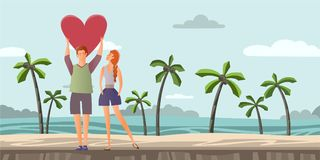 Young couple in love. Man and woman on a romantic date on a tropical beach with palm trees. Vector illustration. Stock Image