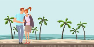 Young couple in love. Man and woman on a romantic date on a tropical beach with palm trees. Vector illustration. Royalty Free Stock Image