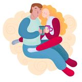 Young Couple in Love Vector Illustration. Young Couple in Love Man and Woman Sit Together on Pouf, Cuddle and Drink Hot Chocolate Romantic Art Vector royalty free illustration