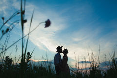 Young couple in love in the meadow Stock Photography