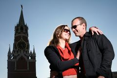 Young couple in love in Moscow stock images