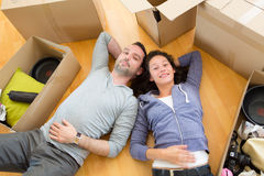Young couple in love moved in their new flat Royalty Free Stock Photo