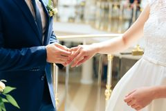 Young couple in love newlyweds exchange gold wedding rings 1. Young couple in love newlyweds exchange gold wedding rings royalty free stock image