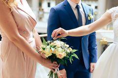 Young couple in love newlyweds exchange gold wedding rings 1. Young couple in love newlyweds exchange gold wedding rings stock image