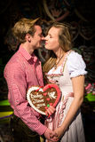 Young couple in love at Oktoberfest Royalty Free Stock Images