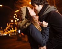 Young couple. In love outdoor Royalty Free Stock Photos