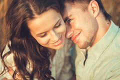 Young couple in love outdoor.Couple hugging.Сlose-up Stock Photos