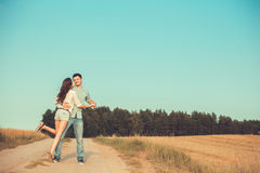 Young couple in love outdoor.Couple hugging. Stock Photos