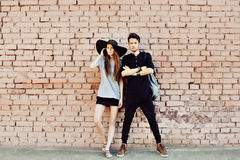 Young couple in love outdoor - full length portrait Stock Photos