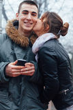 Young couple in love outdoor stock images
