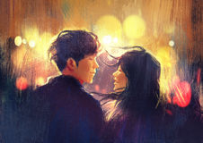 Young couple in love outdoor,illustration. Digital painting royalty free illustration