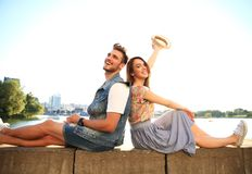 Young couple in love outdoor.Love,relationship and people concept Royalty Free Stock Photo