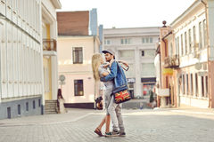 Young couple in love outdoor. Sensual outdoor portrait of young Royalty Free Stock Photography