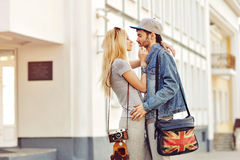 Young couple in love outdoor. Sensual outdoor portrait of young Stock Photography