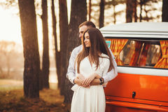Young couple in love outdoor. Royalty Free Stock Photos