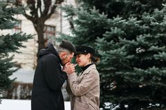 Young couple in love outdoor. Stunning sensual outdoor portrait of stylish couple royalty free stock images