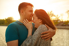 Young couple in love outdoor stock photos