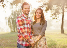 Young couple in love outdoor stock photo