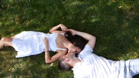 Young couple in love outdoors stock video