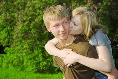 Young couple in love outdoors Royalty Free Stock Image