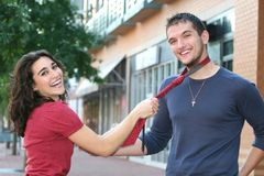 Young Couple in Love, Outdoors Stock Photo