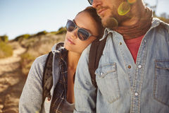 Young couple in love outdoors on a country hike Royalty Free Stock Photography