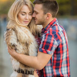 Young couple in love outdoors. Royalty Free Stock Images